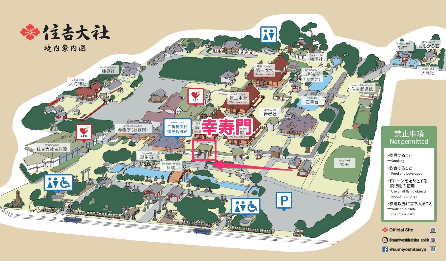 住吉大社の幸寿門の位置